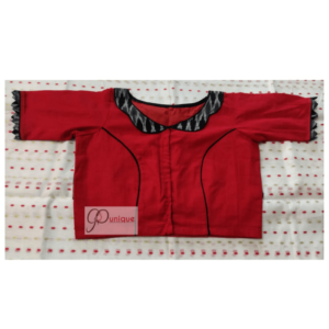 Red Cotton Silk Blouse With Black And Grey Ikkat Jacket Type Design Blouse 2