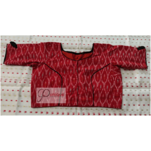 Red Ikkat Blouse With Black Bow