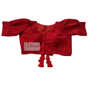Red Jamdani Blouse With Red Latkan 1