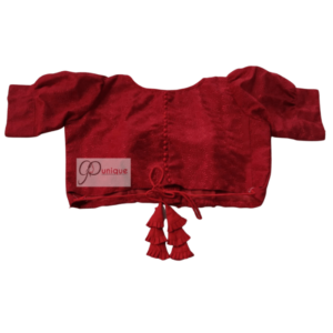 Red Jamdani Blouse With Red Latkan