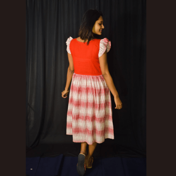 Red Khadi With Red White Ikkat Material Dress