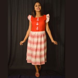 Red Khadi With Red White Ikkat Material Dress 1