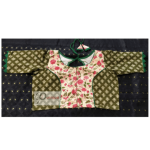 White Akrak Pink Flower Body With Green Sleeves Blouse 2