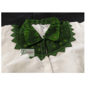 White Jamdani Body With Green Collar And Frill Blouse 1
