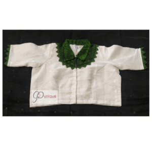 White Jamdani Body With Green Collar And Frill Blouse