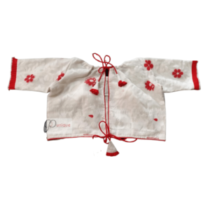 White Jamdani With Red Flower Work Blouse