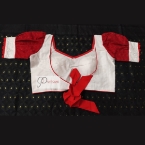 White Khadi Body With Red Chikon Hata Padded Blouse