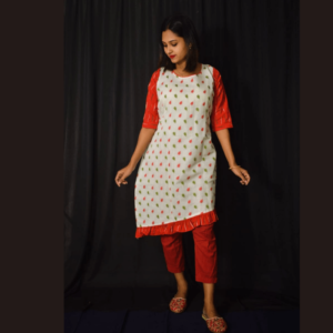 White Jamdani Red Green Leaf Work With Red Ikkat Sleevesdress 1