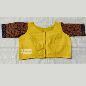 Yellow Multi Fabric Material Blouse With Brown Ajrak Sleeves 1