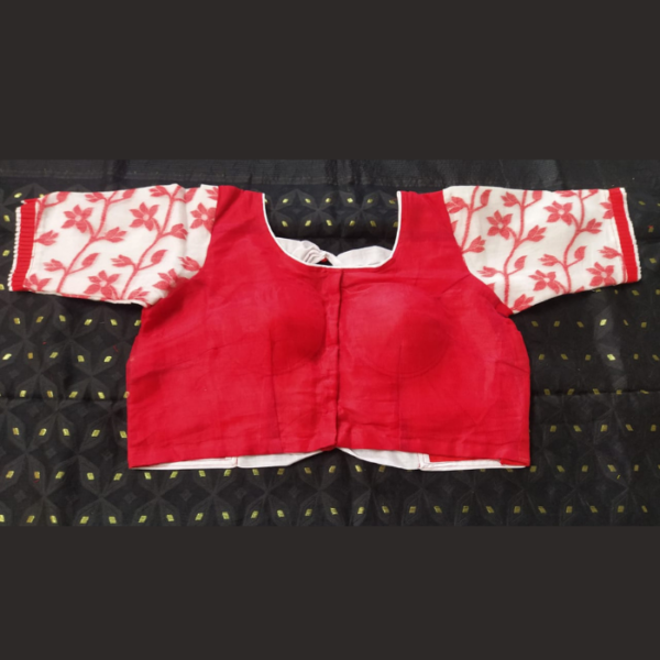 Rd Jamdani With Red White Sleeves