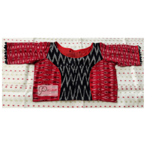 Red Black Combination Ikkat Blouse With Bow