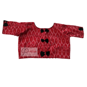 Red Ikkat Blouse With Black Bow 1
