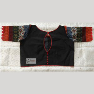 Bkacl Khadi Body With Multi Fabric Sleeves Work Blouse