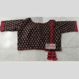 Black Ajrak Blouse With Red Frill And Piping