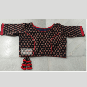 Black Ajrak Blouse With Red Frill And Piping 1