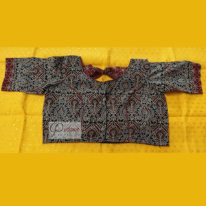 Black Ajrak Body With Brown Ajrak Bow Blouse 1