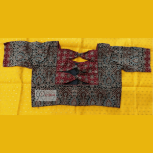 Black Ajrak Body With Brown Ajrak Bow Blouse