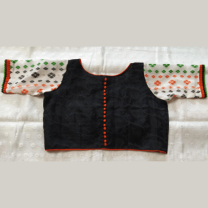 Black Jamdani Body White Sleeves With Red Black Work Blouse 1