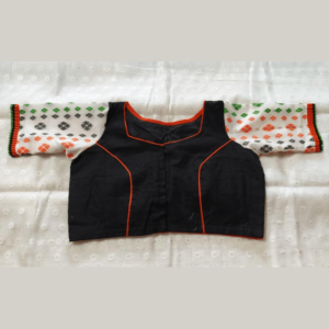 Black Jamdani Body White Sleeves With Red Black Work Blouse