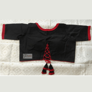 Black Khadi Blouse With Red Frill And Piping 1