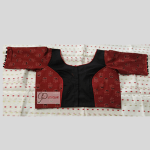 Black Khadi Body With Brown Ajrak Flower Motive Blouse 1