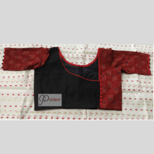 Black Khadi Body With Brown Ajrak Flower Motive Blouse
