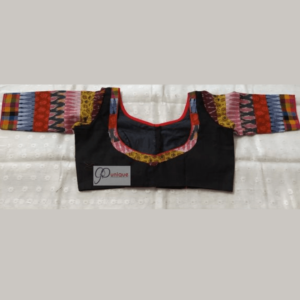 Black Khadi Body With Multi Fabric 3 Quarter Sleeves Blouse 1