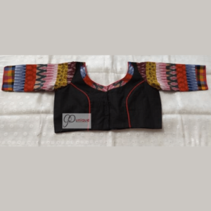 Black Khadi Body With Multi Fabric 3 Quarter Sleeves Blouse