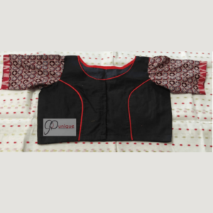 Black Khadi Body With Multi Fabric Design And Ajrak Sleeves Blouse 1