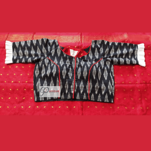 Black And White Combination Blouse With White Frill And Red Piping