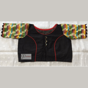 Black Khadi With Multi Colour Fabric Ikkat Blouse 1