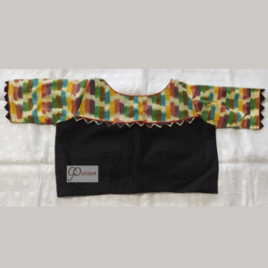 Black Khadi With Multi Colour Fabric Ikkat Blouse