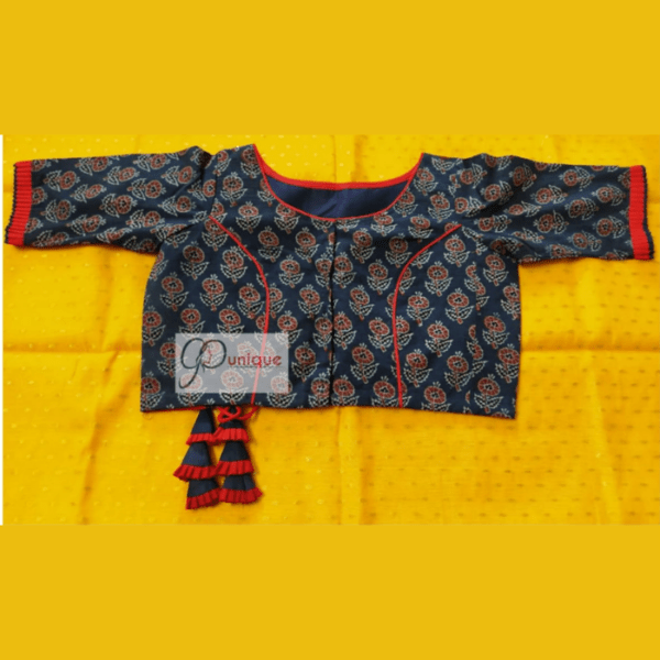 Blue Ajrak Blouse With Red Frill And Piping 1