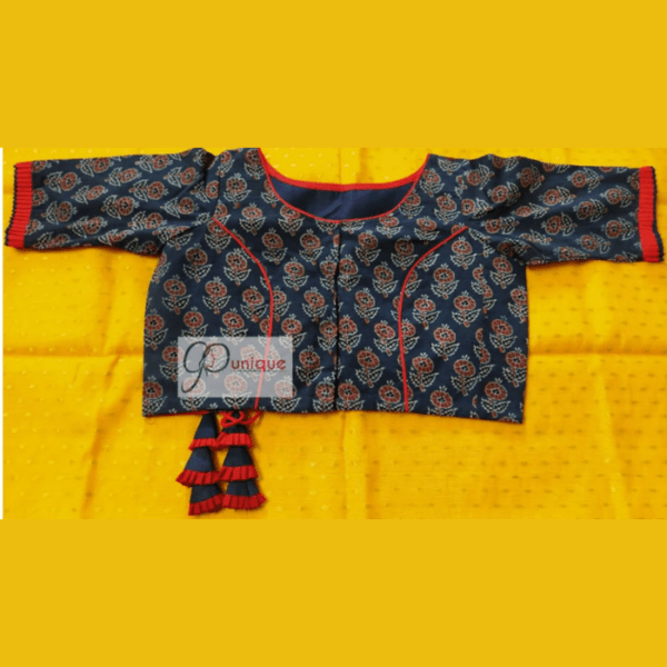 Blue Ajrak Blouse With Red Frill And Piping