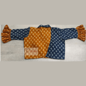 Blue Yellow Combination Ajrak Croptop With With Blue Collar 1