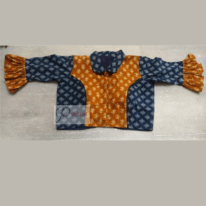 Blue Yellow Combination Ajrak Croptop With With Blue Collar