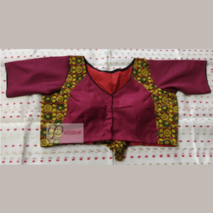 Cotton Silk Body With Yellow Ajrak Design Blouse