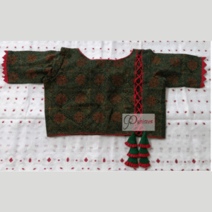 Green Ajrak Blouse With Red Piping And Frill 1