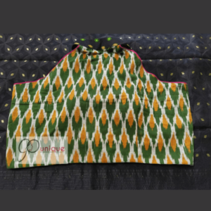 Green Yellow Ikkat With Black Jamdani Collar And Work Blouse 1