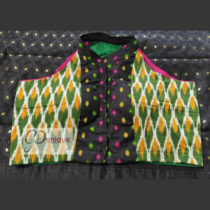 Green Yellow Ikkat With Black Jamdani Collar And Work Blouse