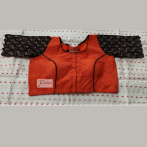 Orange Khadi With Black Ajrak Sleeves Blouse 1