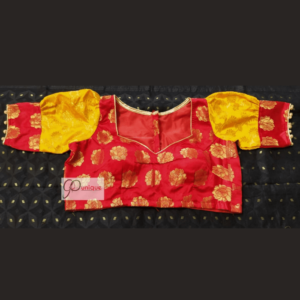 Red Banarasi Body With Yellow Banarasi Sleeves Blouse