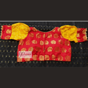 Red Banarasi Body With Yellow Banarasi Sleeves Blouse 1