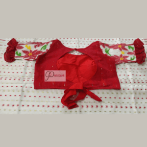 Red Jamdani Body With White Sleeves And Red Green Sleeves Work. Blouse