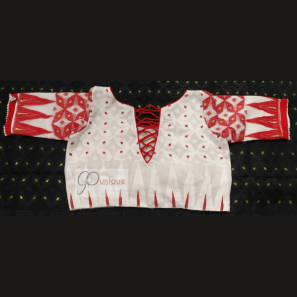 White Jamdani Body Red White Glass Sleeves Blouse 1
