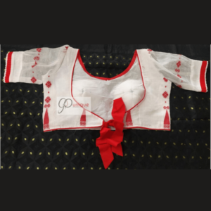 White Jamdani With Red Flower Motive Ghoti Sleeves Blouse 3
