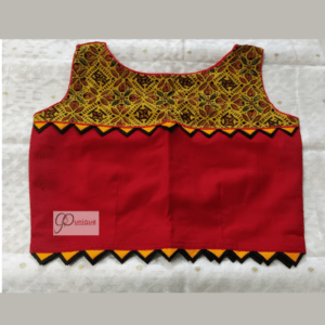 Yellow Ajrak With Red Khadi And Yellow Triangle Frill Sleeveless Blouse