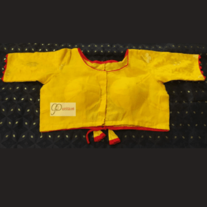 Yellow Jamdani Bldy With Yellow Sleeves Blouse 1