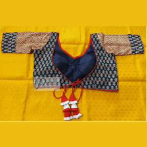 Blue Ajrak Bldt With Yellow Blue Sleeves Blouse 1