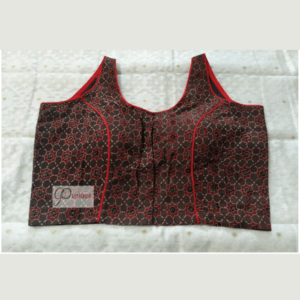 Brown Ajrak Sleeveless Blouse With Red Piping 1